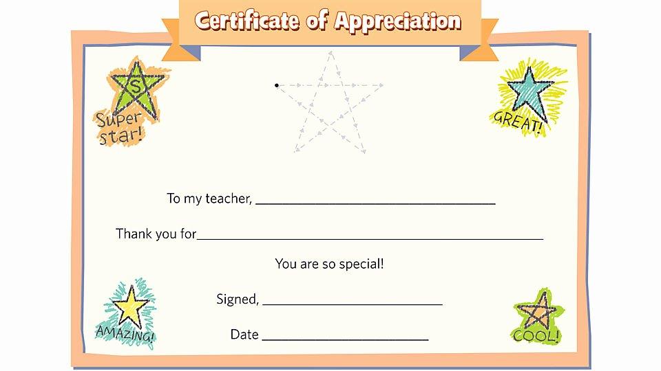 Teacher Appreciation Certificate Template Lovely Teacher Certificate Of Appreciation