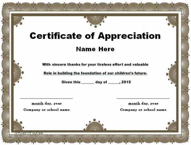 Teacher Appreciation Certificate Template Luxury 30 Free Certificate Of Appreciation Templates and Letters