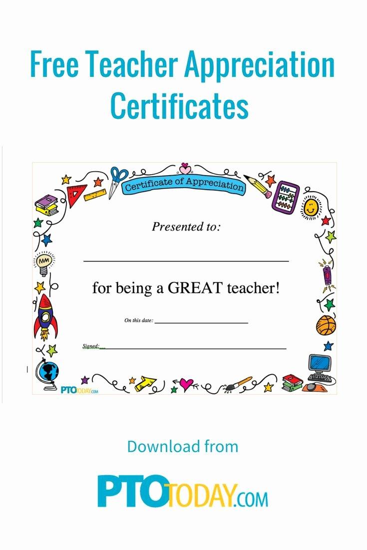 Teacher Appreciation Certificate Template New 1000 Ideas About Teacher Appreciation On Pinterest