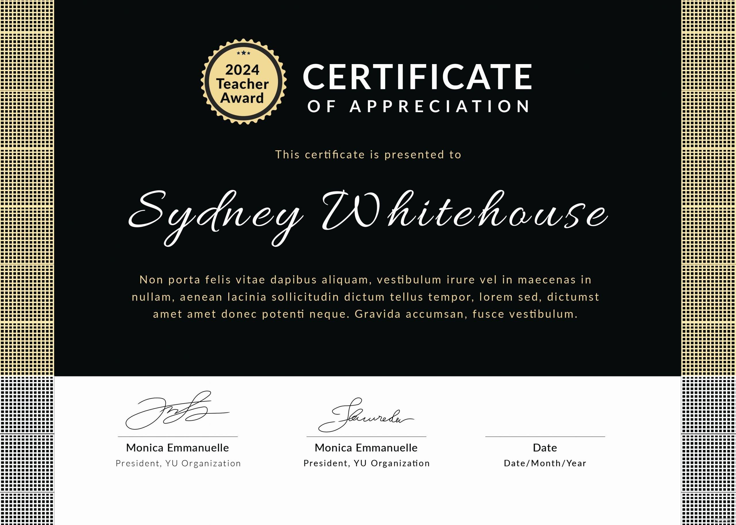 Teacher Appreciation Certificate Template New Free Teacher Appreciation Certificate Template In Adobe
