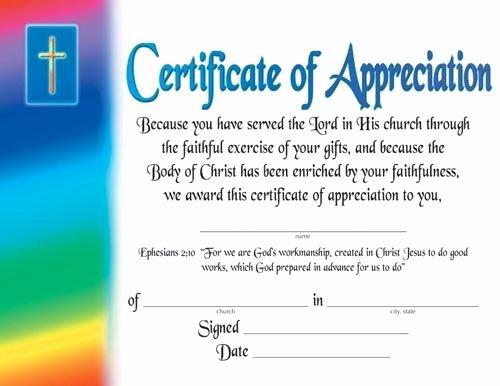 Teacher Appreciation Certificate Template Unique Certificate Of Appreciation Religious