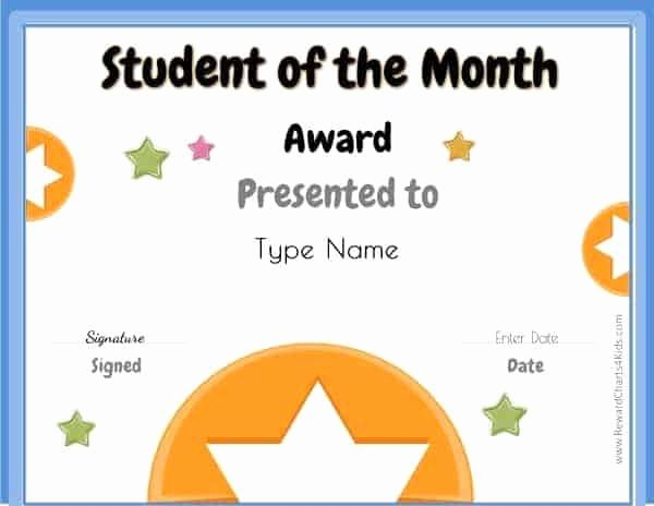 Teacher Of the Month Certificate Elegant Free Student Of the Month Certificate
