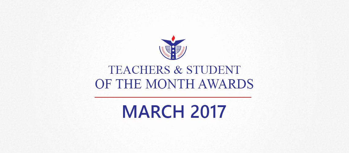 Teacher Of the Month Certificate Elegant Teachers and Student Of the Month Awards March 2017
