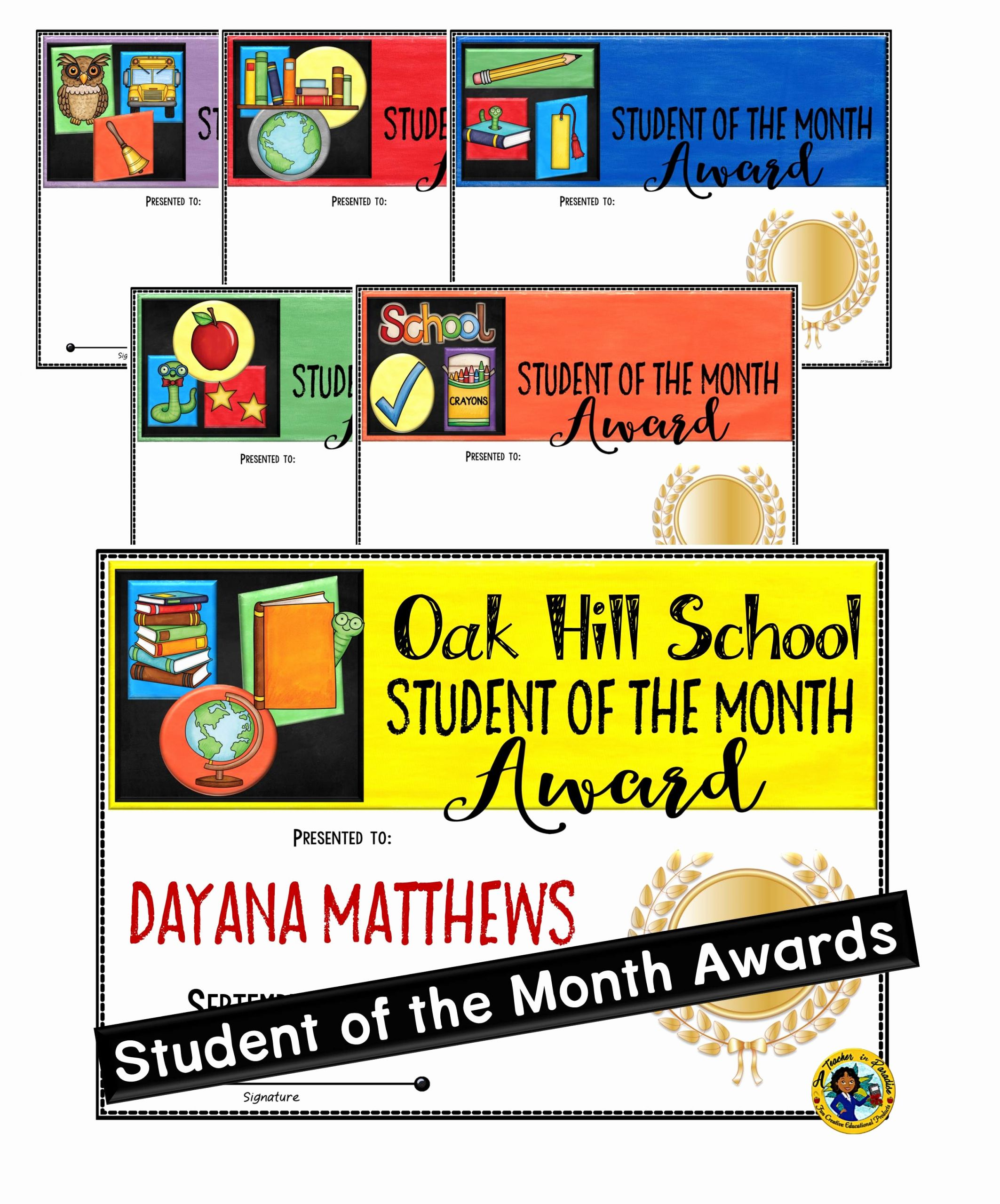 Teacher Of the Month Certificate Fresh Student Of the Month School Awards