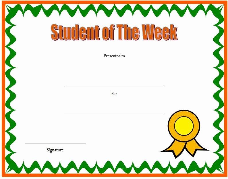 Teacher Of the Month Certificate Template Elegant 10 Student Of the Week Certificate Templates [best Ideas]