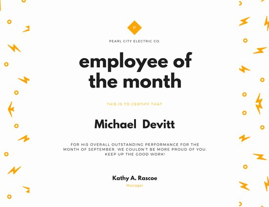 Teacher Of the Month Certificate Template Elegant Employee Of the Year Award Certificate Templates by Canva