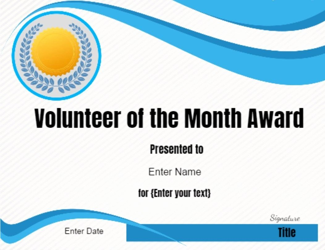 Teacher Of the Month Certificate Template Elegant Volunteer Of the Month Certificate Template