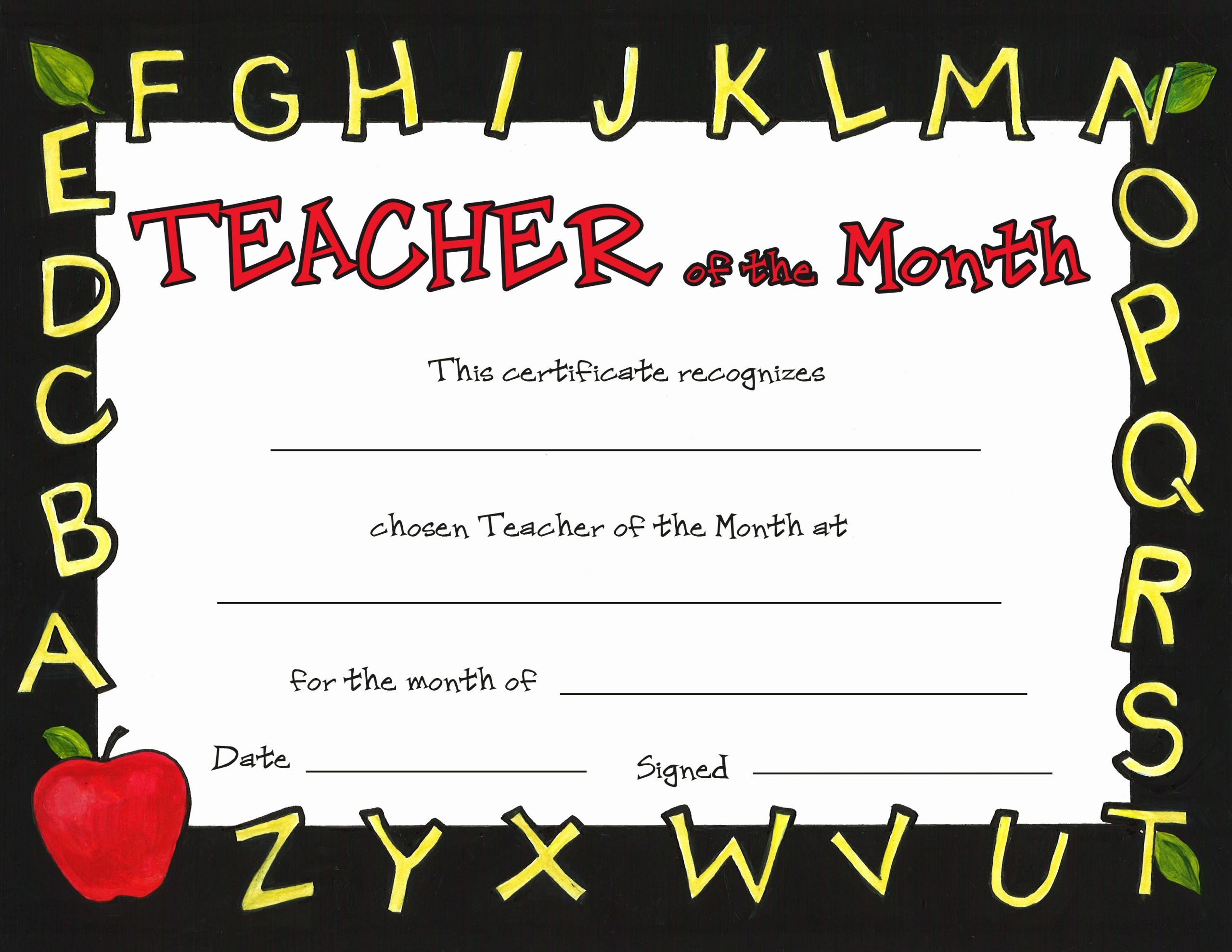 Teacher Of the Month Certificate Template Fresh Teacher Of the Month