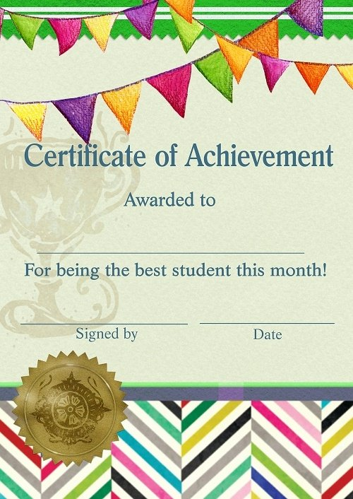 Teacher Of the Month Certificate Template Unique Certificate Of Achievement for Being the Best Student This