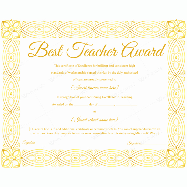 Teacher Of the Year Award Template Awesome 89 Elegant Award Certificates for Business and School events