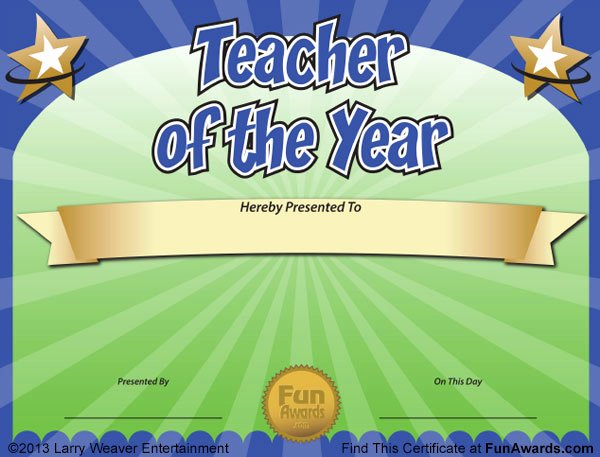 Teacher Of the Year Award Template Awesome Funny Teacher Awards™ 101 Printable Certificates Fun