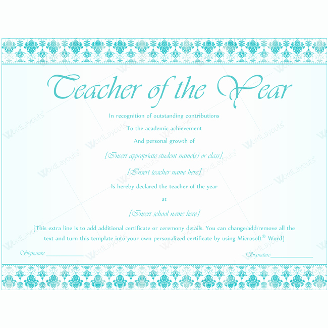 Teacher Of the Year Award Template Awesome Teacher Of the Year 07 Word Layouts