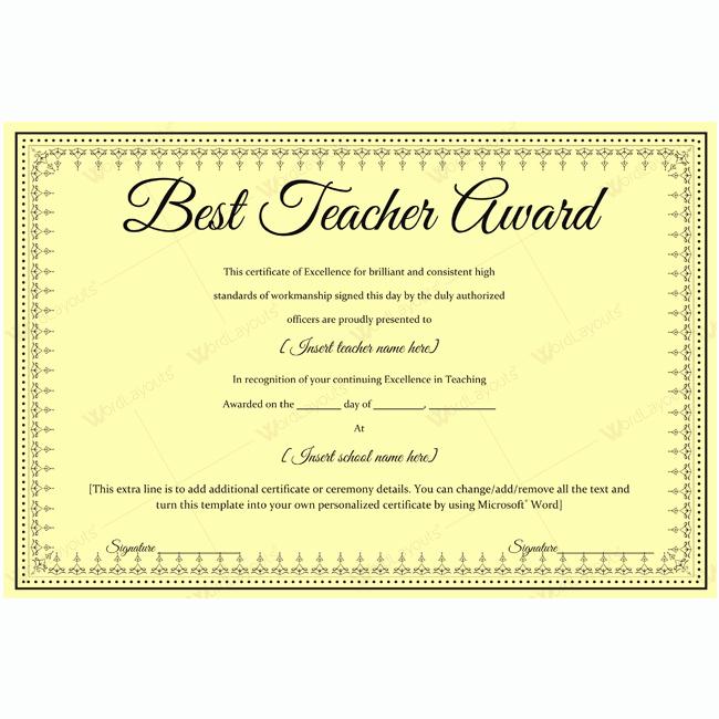 Teacher Of the Year Award Template Beautiful Best Teacher Award Certificate Template Sample Award