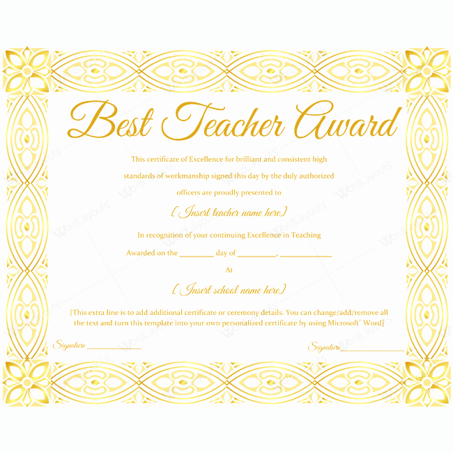 Teacher Of the Year Award Template Elegant Best Teacher Award Certificate 15