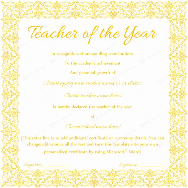 Teacher Of the Year Award Template Fresh Teacher Of the Year 08