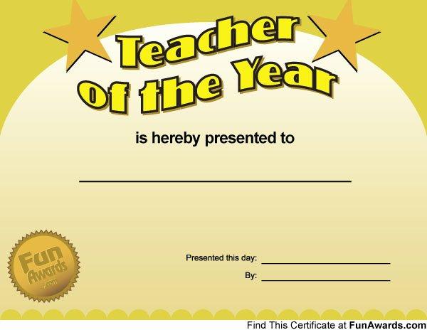 Teacher Of the Year Award Template Lovely Funny Teacher Awards – Printable Award Certificates for