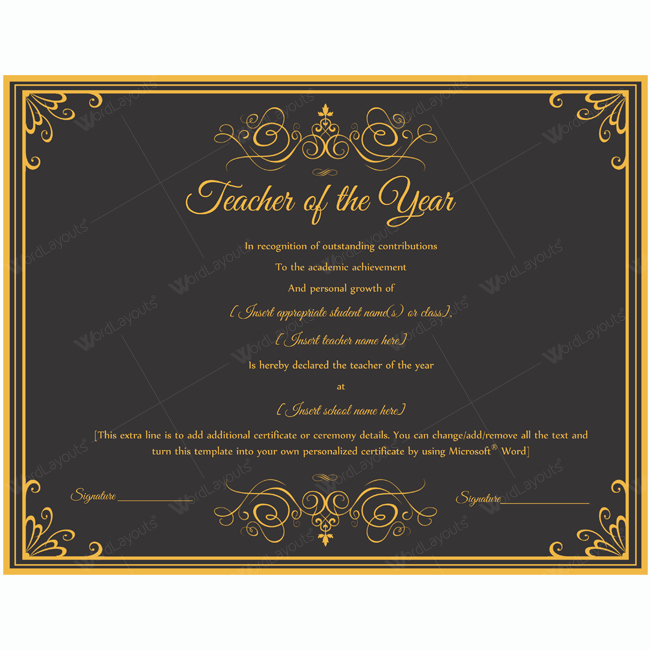 Teacher Of the Year Award Template Lovely Teacher Of the Year 01 Word Layouts
