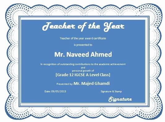 Teacher Of the Year Award Template New Teacher Of the Year Award Certificate Template