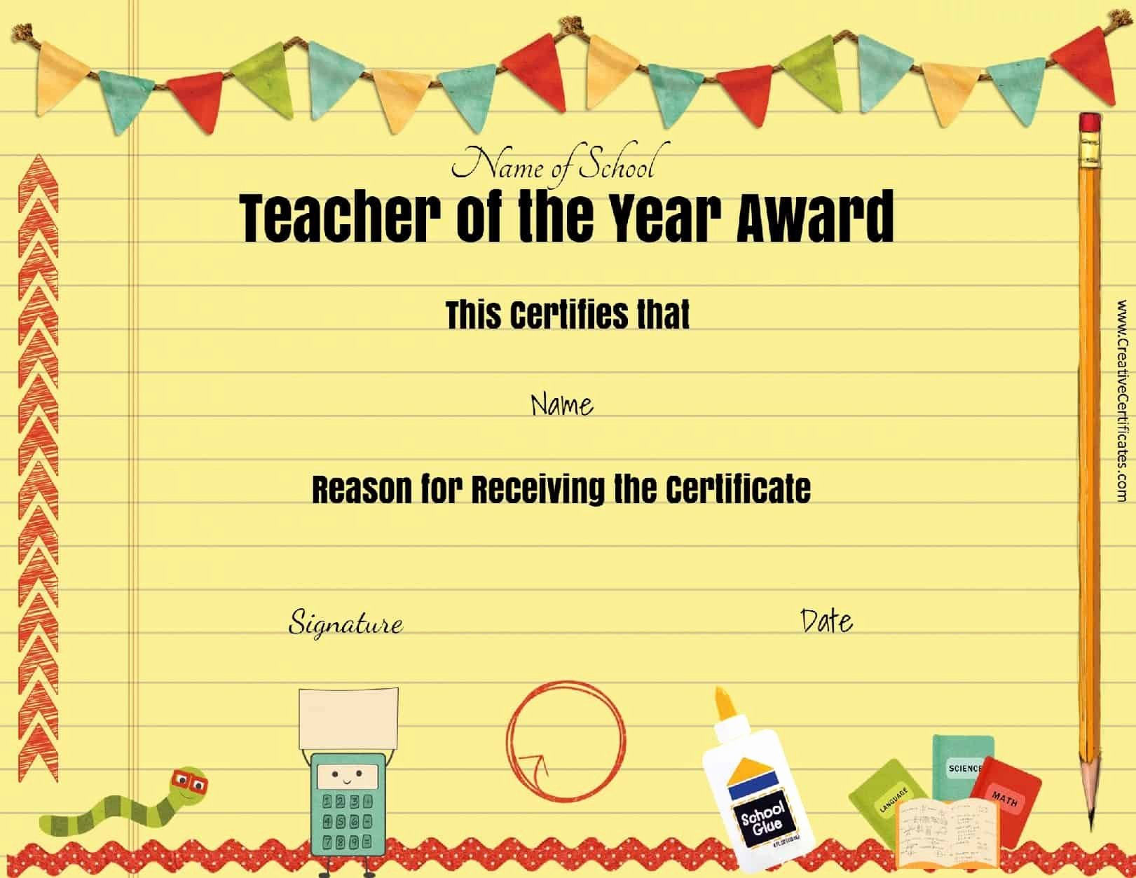 Teacher Of the Year Award Template Unique Certificates for Kids Free and Customizable Instant