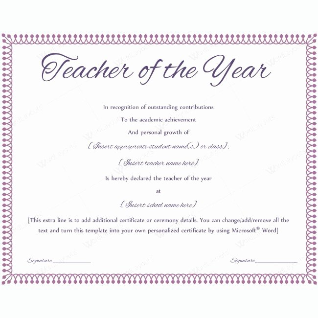 Teacher Of the Year Certificate Inspirational 13 Best Teacher Of the Year Award Certificate Templates