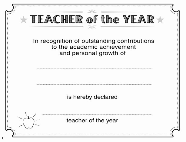 Teacher Of the Year Certificate Lovely Download Teacher Of the Year Certificate Template Wikidownload