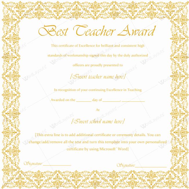 Teacher Of the Year Certificate New 89 Elegant Award Certificates for Business and School events