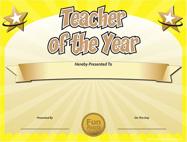 Teacher Of the Year Certificate Printable Awesome Funny Award Ideas Free Teacher Of the Year Award