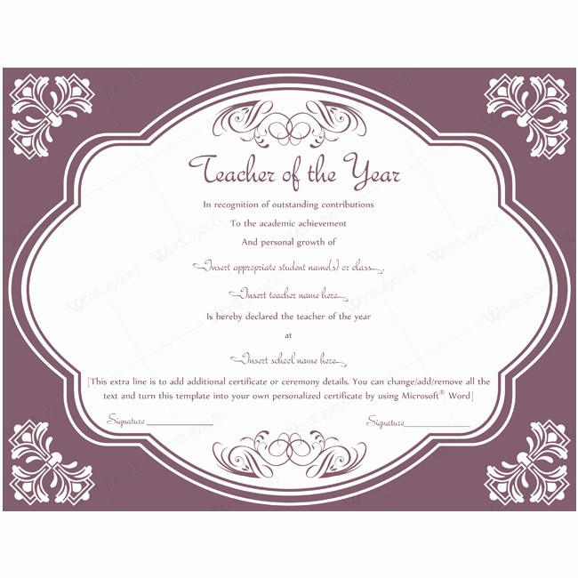 Teacher Of the Year Certificate Printable Awesome Teacher Of the Year 04 Word Layouts