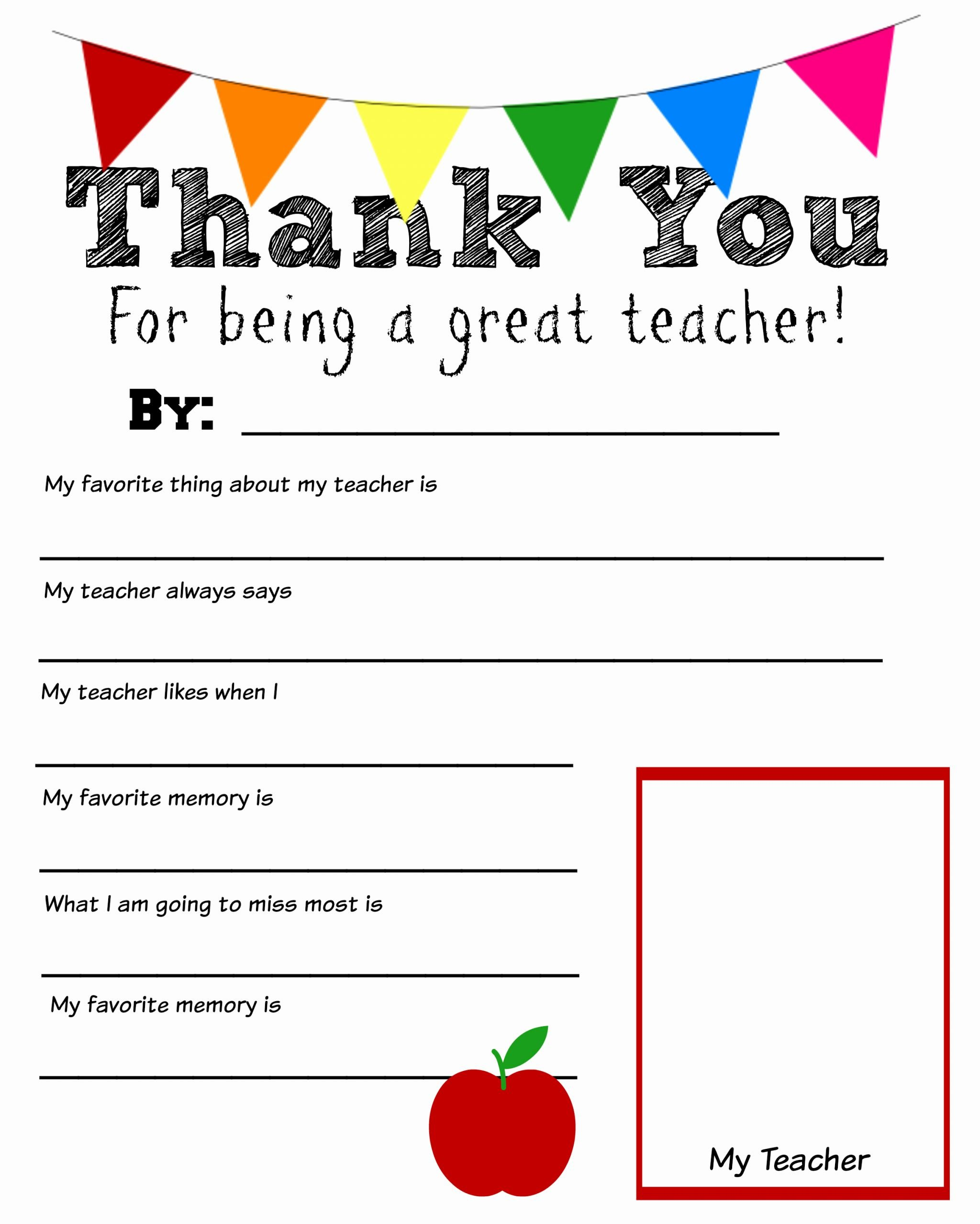 Teacher Of the Year Certificate Printable Awesome Thank You Teacher Free Printable