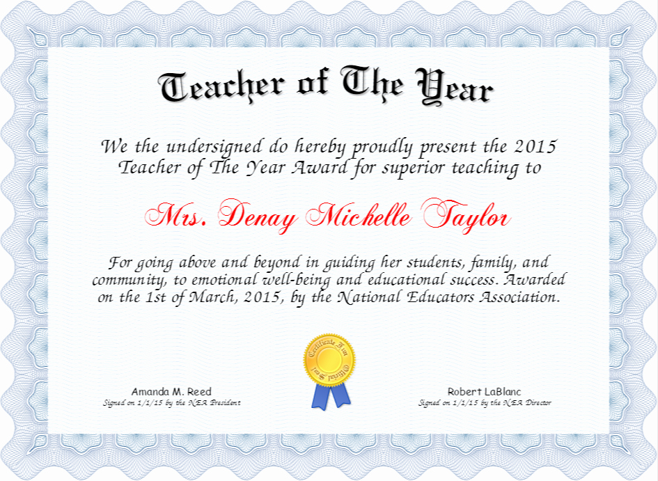Teacher Of the Year Certificate Printable Beautiful Teacher Of the Year Certificate