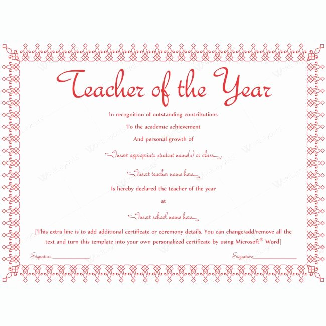 Teacher Of the Year Certificate Printable Best Of 13 Best Teacher Of the Year Award Certificate Templates