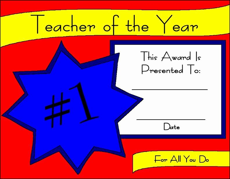 Teacher Of the Year Certificate Printable Elegant Printable Certificates for Teachers