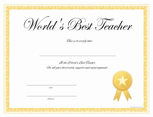Teacher Of the Year Certificate Printable Lovely Best Teacher Ever Must See