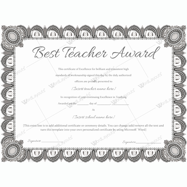Teacher Of the Year Certificate Wording Awesome Best Teacher Award 08 Word Layouts