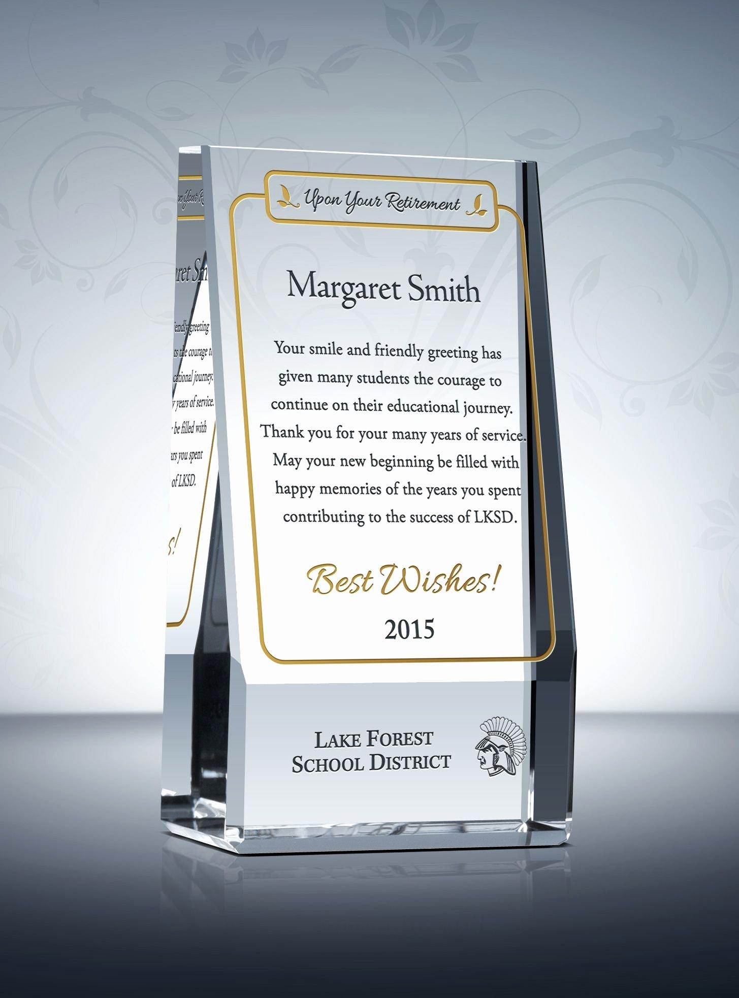 Teacher Of the Year Certificate Wording Elegant Wedge Teacher Retirement Plaque