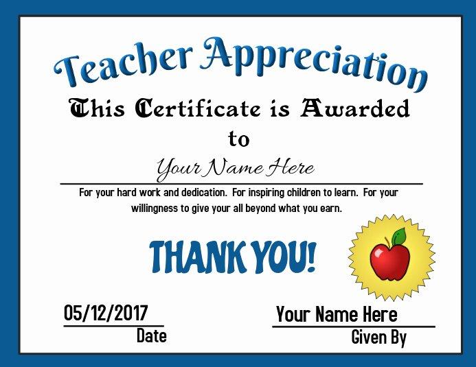 Teacher Of the Year Certificate Wording Lovely Teacher Appreciation Award Template