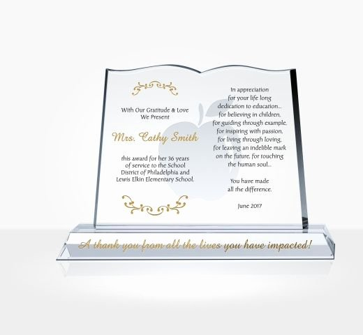 Teacher Of the Year Plaque Wording Best Of Crystal Book Shaped Award for Teachers Diy Awards