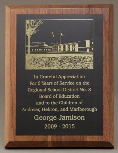 Teacher Of the Year Plaque Wording Unique 6x8 solid Walnut Plaque with Lasered Plate 6x8lasplate