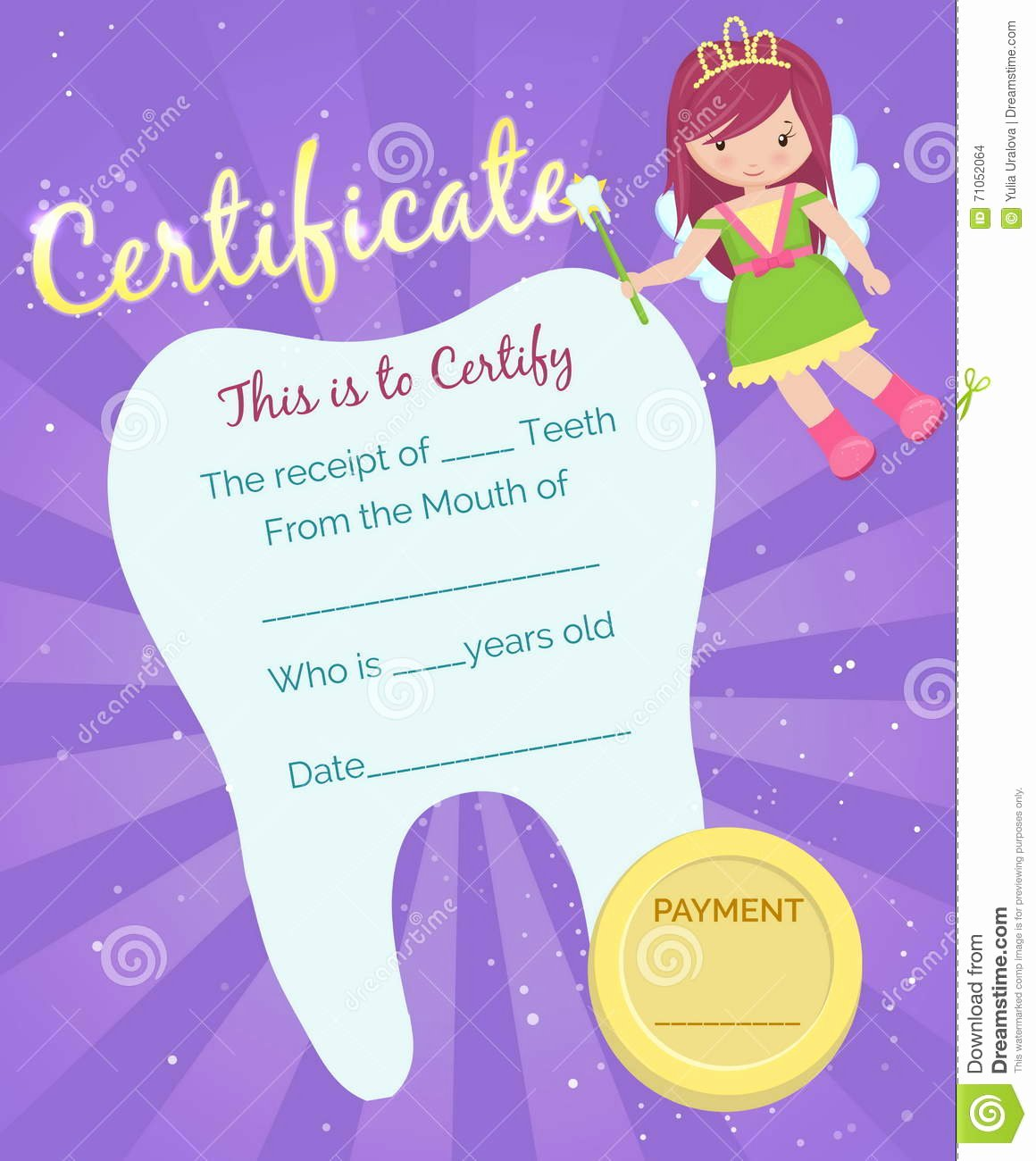 Teeth Whitening Gift Certificate Template Best Of tooth Fairy Receipt Certificate Template Stock Vector