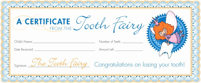 Teeth Whitening Gift Certificate Template Elegant tooth Fairy Certificates Dental Care for Children