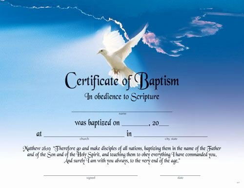 Template for Baptism Certificate Awesome Printable Fillable Certificate Of Baptism