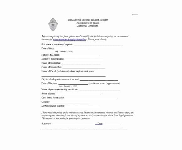Template for Baptism Certificate Elegant 47 Baptism Certificate Templates Free Printable Templates