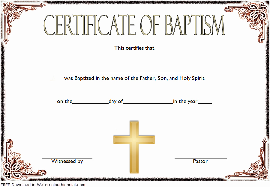Template for Baptism Certificate Elegant Baptism Certificate Template Word [9 New Designs Free]