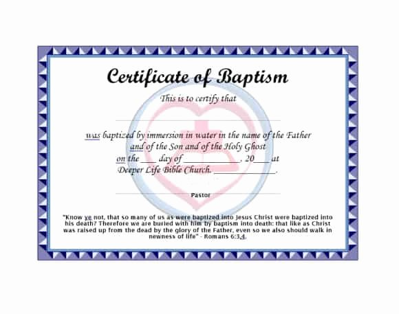Template for Baptism Certificate Inspirational 47 Baptism Certificate Templates Free Printable Templates