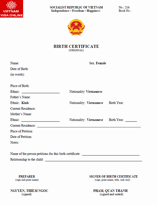 Template for Birth Certificate Translation Awesome How to Obtain 5 Year Exemption Vietnam Visa – Bonjour Vietnam