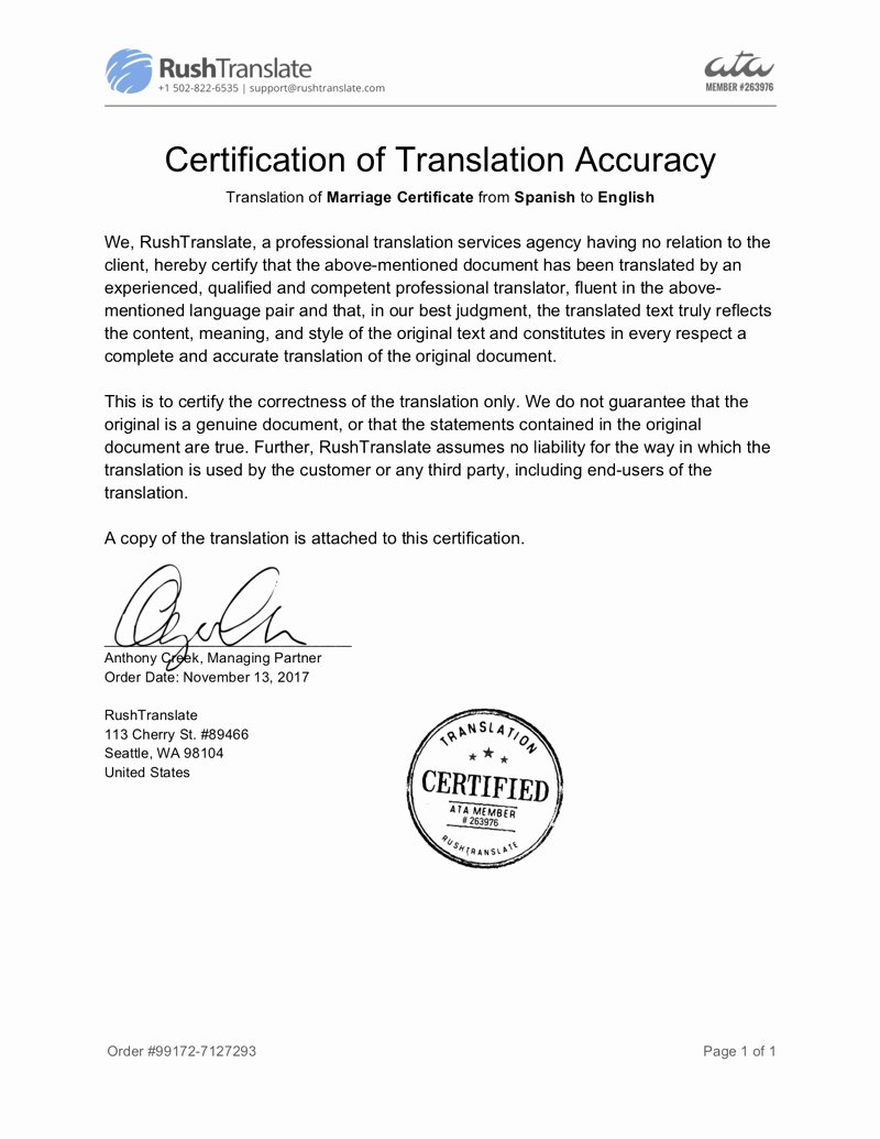 Template for Birth Certificate Translation Elegant Certified Birth Certificate Translation Rushtranslate