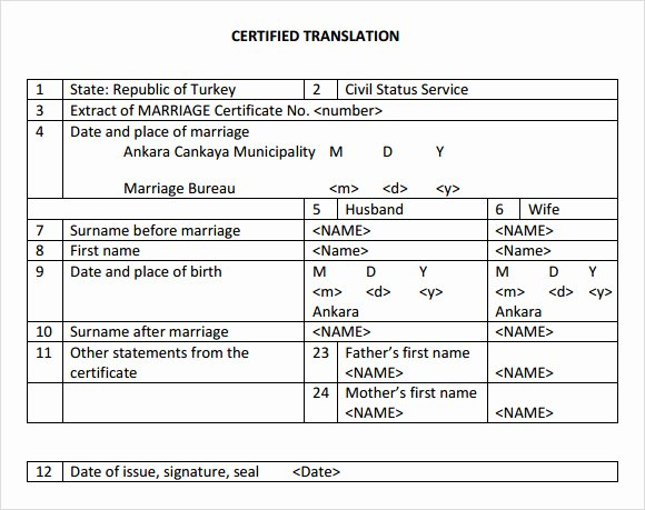 Template for Birth Certificate Translation New Certificate Templates Mexican Marriage Certificate