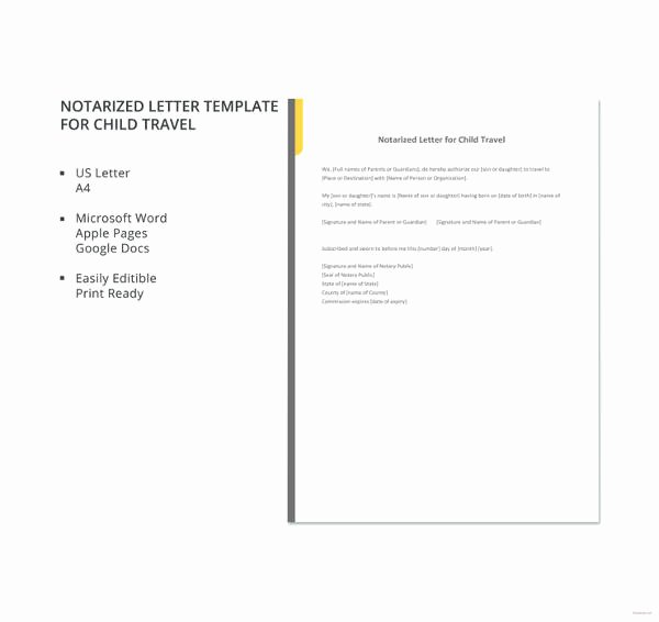 Template for Notarized Letter Awesome 32 Notarized Letter Templates Pdf Doc