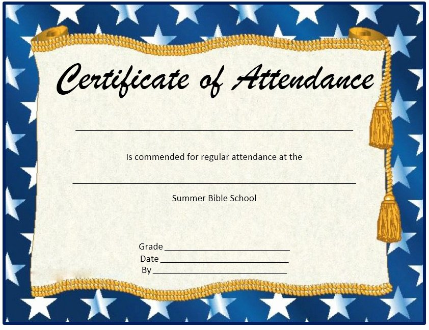 Template for Perfect attendance Certificate Awesome 13 Free Sample Perfect attendance Certificate Templates
