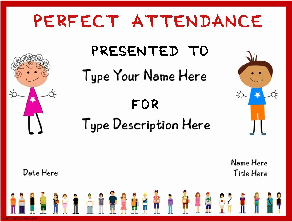 Template for Perfect attendance Certificate Beautiful 8 Free Sample attendance Certificate Templates Printable